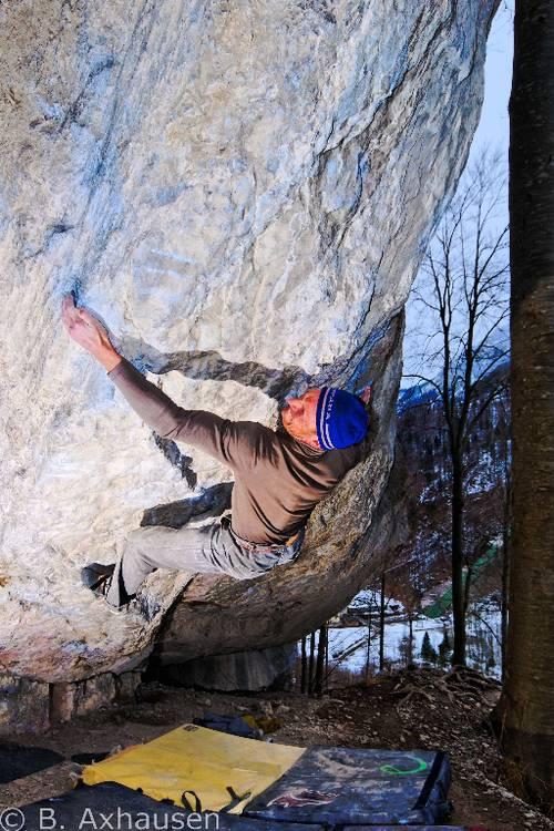 Toni Lamprecht in his hardest boulder yet, Bokassa's Fridge / Assassin Monkey and Man - fb 8c+ in Kochel, Germany.