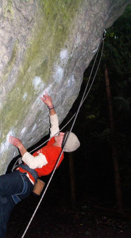 Franken route with hard boulder sequence.