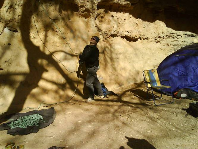 """This is my true belay-master Peter in action. While I'm in killer mode on  """"Defi 7b+"""" in Chateauvert,(France)"""