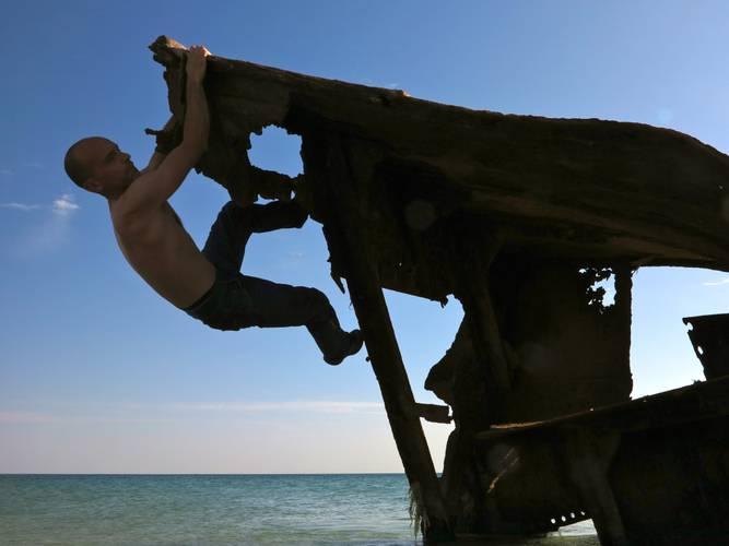 on a shipwreck along the beach near Kuryk base, Kazakhstan