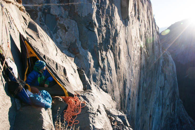 One of the coolest large ledges on El Cap, below the Cyclops Eye