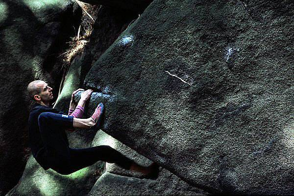 Ryba - The Fish  Andrzej fighting the beast. Bouldering in Poland