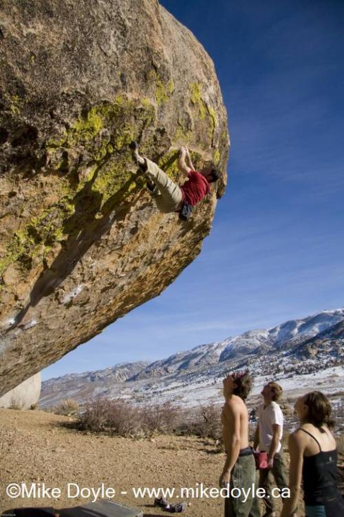 Evilution (lip only) 7c+, Buttermilks. Too chicken to go farther.