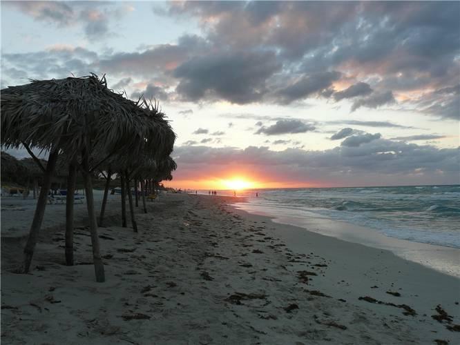Sunset on the beach in Varadero.