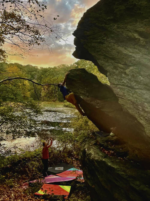Sketch Ball Arete out at the Sink or Swim Wall just as you walk into Pond Cave.